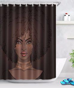Black girl shower curtain dark african american