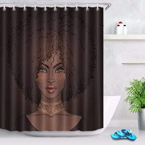 Black girl shower curtain dark african american
