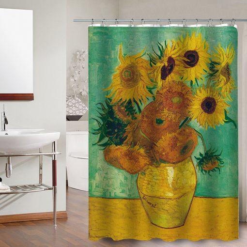 sunflower shower curtains yellow painting