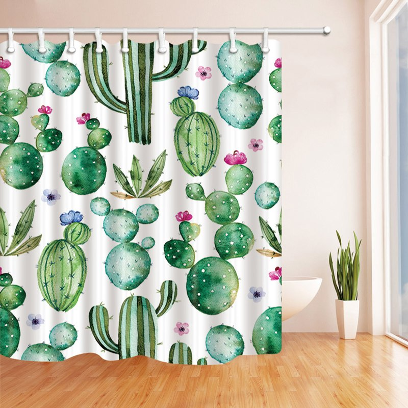 5 Diff Cactus Plants Pattern Waterproof Mildew Shower Curtains