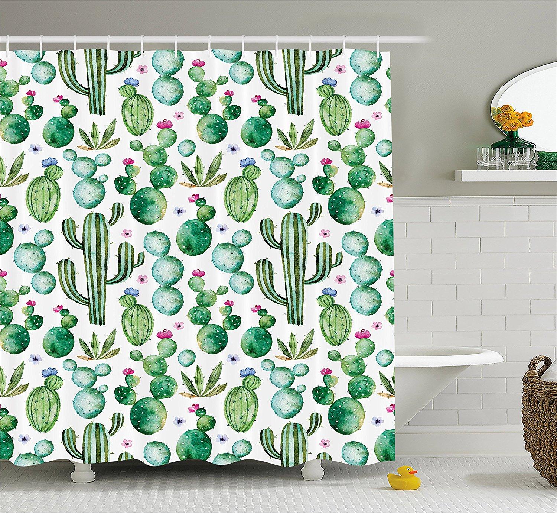 Texas Mexican Cactus Plants Spikes Cartoon Print Shower Curtain