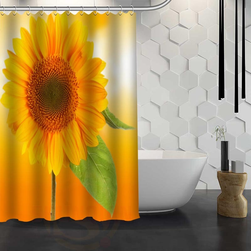 21 Colors Waterproof Sunflower Shower Curtains