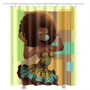Women African shower curtain waterproof 2018