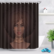 "Black Girl Shower Curtain 72"" Waterproof Bathroom African American Pretty women curtain"