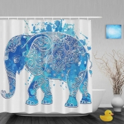 Lovely Blue African Elefhant Shower Curtains Cute Animal Decor Bathroom Shower Curtains Polyester Waterproof Fabric With Hooks