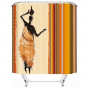 African Woman In Skirt with Jardiniere Waterproof Shower Curtain Fabric Bathroom Curtain 2018
