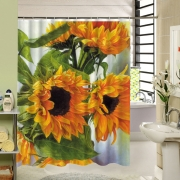 Sunflowers That See Positive Life Shower Curtain Polyester Fabric Water Resistance Bath Curtains