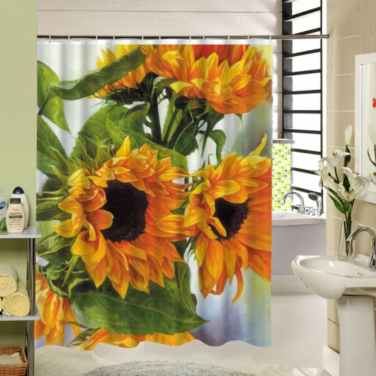 sunflower shower curtains yellow