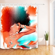 Afro Girl African American Shower Curtain Make-up Woman