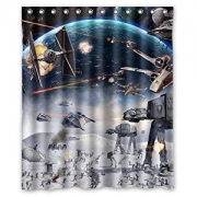 Custom Home Decoration Star War Science War Spaceship Shower Curtain