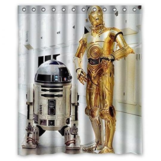 R2D2 Star Wars Robot Waterproof Bathroom Shower Curtain