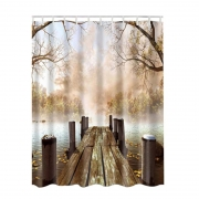 3D Pattern Lake,House,Nature,Country Rustic Home Bathroom Shower Curtains