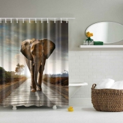 3D Printing Animals,Elephant & Nature Shower Curtain