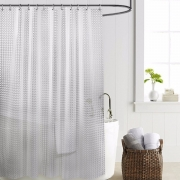 [4 Variations] 3D Transparent White Clear Luxury Plastic Waterproof Shower Curtain
