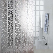 Transparent 3D Embossing Cobblestone Mosaic Pattern Bathroom Curtain with 12 Hooks