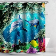 {25 Diff} 3D Sealife pictures Shower Curtain Dolphin, shark, whals, sea turtle