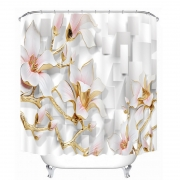 {8diff} Full HD 3D Carved Cool Flowers Pattern Waterproof Shower Curtains