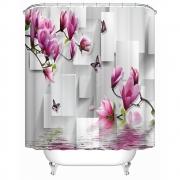 {9 diff} 3D Floral Print, Peach Blossom Bathroom Shower Curtains