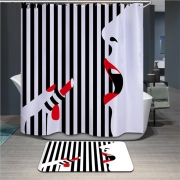 17 variation of High Quality 3D girl, fashion Waterproof Polyester Bathroom Curtain