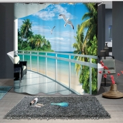 {6 diff} Seaside Sandy Beach Scenery Pattern 3D Shower Curtains
