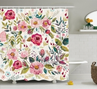 Shabby Chic Shower curtain with Flowers Roses Pedals Dots Leaves Buds Spring Season Theme