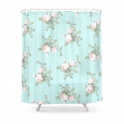 Shabby Chic Roses Pink And Mint Shower Curtain