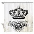 Antique Vintage french shabby chic crown Shower Curtain