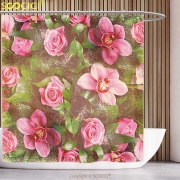 {25 Diff} Shabby Chic Decor Romantic Retro Floral Composition Fun Shower Curtain