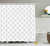 Shabby Chic Damask Pattern with Vintage Kitsch Geometric Diamond Fleur De Lis Shower Curtain