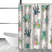 {6colors} Potted Cactus Succulents Print Bathroom Shower Curtain