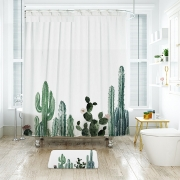 [2-colors] Tropical Cactus Waterproof Shower Curtain