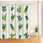 [5-Diff] Cactus Plants Pattern Waterproof Mildew Shower Curtains