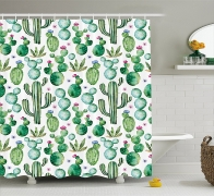 Texas & Mexican Cactus Plants Spikes Cartoon Print Shower curtain
