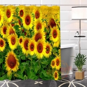 {19 Colors}Custom 3D Sunflower's Unique Fabric Print Waterproof  Bath Curtain For Bathroom With Hooks