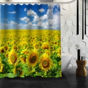 [21 Colors] New arrival sunflower prints bathroom curtain