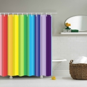 Rainbow Stripes Pattern Shower Curtain 2019
