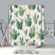 Curtain Shower Waterproof cactus Pattern & 12 Hooks Bathroom Multichoice Lot Bathroom Products Washable Mildew Proof Colorful