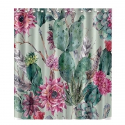 Fabric Polyester 3D Cactus Flowers Printed Waterproof Shower Curtain Tropical Plants Printing Curtain For Bathroom