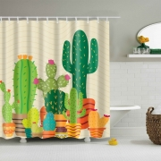 Shower Curtain Bathroom Decor Waterproof cactus Pattern & 12 Hooks Bathroom Multichoice Lot General Purpose Non-slip Modern