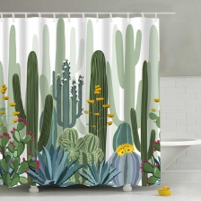 Tropical Plants Cactus Print Shower Curtain for Bathroom Waterproof Bathtub Curtains Polyester Green Curtain 180*180cm 1PC