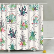Waterproof Shower Curtain with 12 Hooks for Bathroom Tropical Plants Cactus Print Bathtub Curtains Polyester Curtain 180x180cm